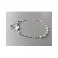 Różaniec Bransoletka ze srebra z perłami