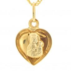 Medalik złoty Matka Boża w serduszku